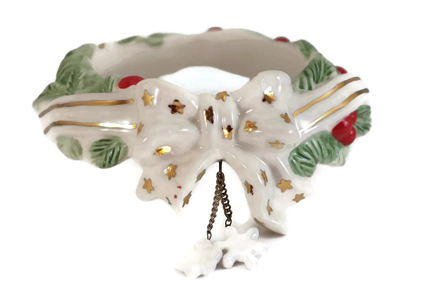 Holiday White and Gold Bow with Holly Berries Candle Ring for Glass Jar Candles Candle Toppers 24377