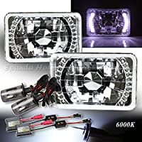 White LED Signal For Chevy/Gmc!4X6 H4651 H4656 Reflector Headlights H4 HID 6000K