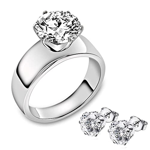 dfac92b7b1144 Stainless Steel Solitaire Ring for Women, 1/1.3/4 Carat Cubic Zirconia  Diamonique Engagement Promise Ring for Women. Ring Size 5 6 7 8 9 10 11
