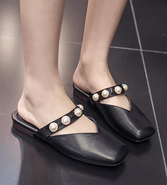 Aisun Damen Elegant Künstlich Perlen Quadratisch Zehe Flach Ohne Verschluss Pantoffeln Beige 38 EU KvjQnex