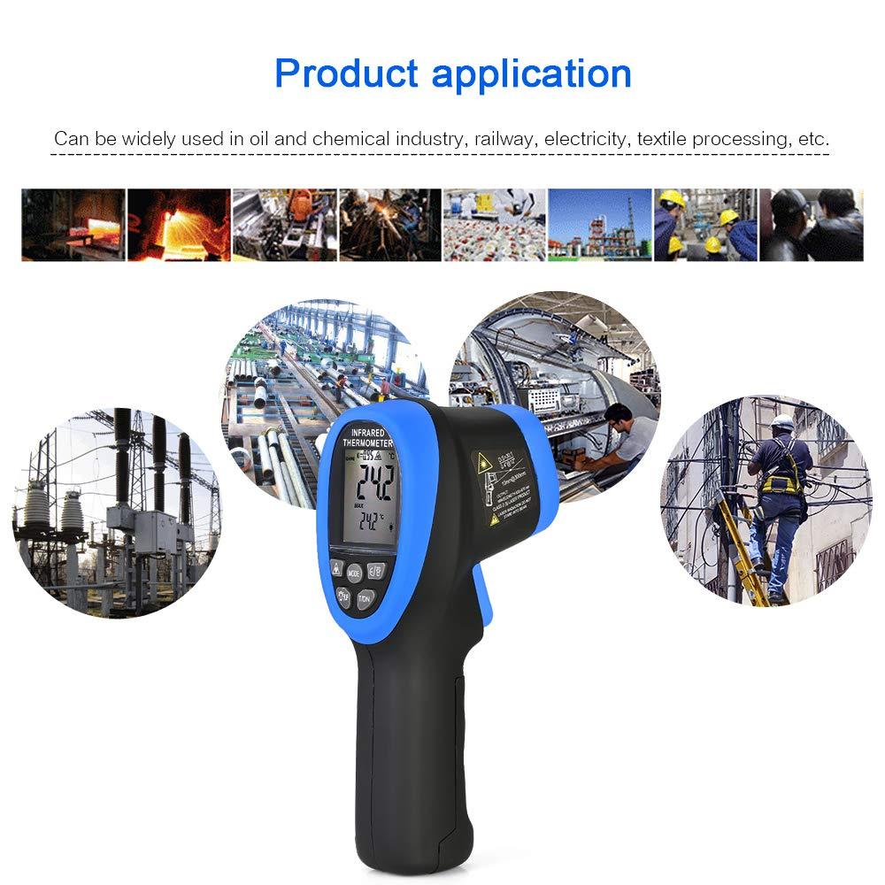 50~1500/°C //-58~2732/°F 30:1 Thermom/ètre num/érique LCD sans contact avec /écran LCD Bleu//noir Thermom/ètre laser infrarouge KKmoon