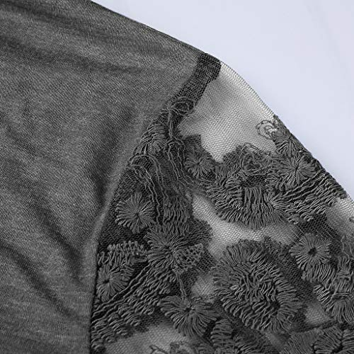 À Manches Lace Patchwork Gris Neck Courtes Pull O Tops Printemps Femmes T Morchan Chemisier shirt qtwa1Ey