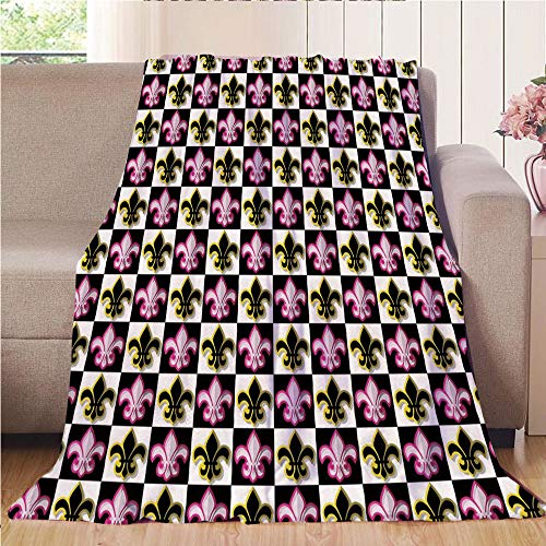 (Throw Blanket Super soft and Cozy Fleece Blanket Perfect for Couch Sofa or bed,Fleur De Lis,Antique Classical Foliage Leaf Motifs with Pop Art Influences Checkered Design,Multicolor,47.25