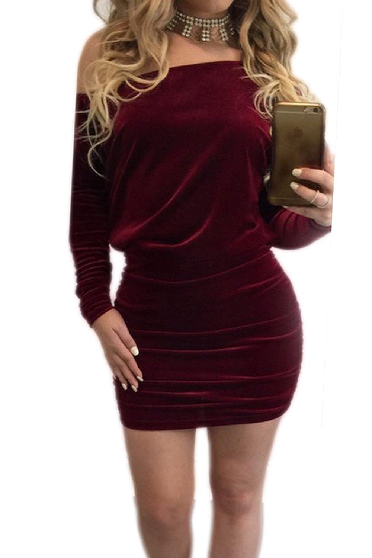 Women's Sexy Off The Shoulder Pleuche Bodycon Party Dress