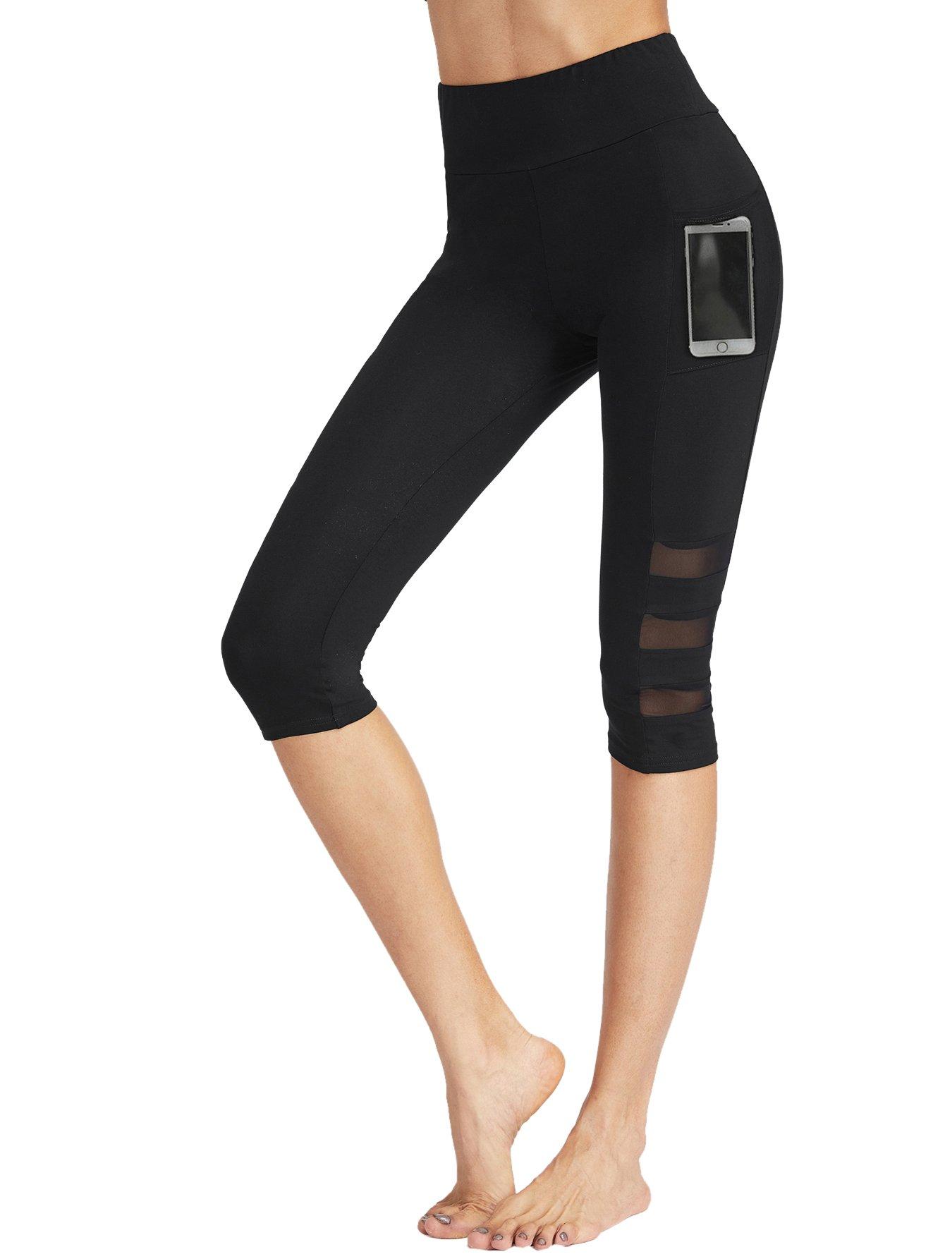 SweatyRocks Women's Mesh Panel Capri Leggings Workout Yoga Running Crop Pants (Medium, Black#4)