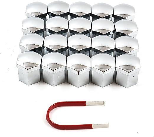 Hohe Qualität Radschraubenkappen Set Abdeckungen 20x Kappen Set Mit Abziehzange 17mm Radmuttern Kappen Radschrauben Silber Auto