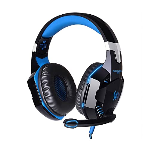 Amazon.com: 3.5mm Wired Stereo PC Headset Over Ear Headphones with Microphone and LED Light - Black and Blue: Computers & Accessories