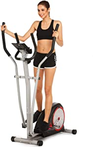 FUNMILY Elliptical Machine for Home Use, Cross Trainer with LCD Monitor & 8 Level Magnetic Resistance, LCD Monitor and Pulse Rate Grips, Heavy Duty Flywheel for Cardio Training Workout