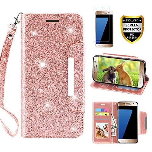 Galaxy S7 Case, with Screen Protector, TPU + Leather Bling Glitter Flip Wallet Case with Kickstand Credit Card Holder Slot for Girls/Women for Samsung Galaxy S7, Rose Gold