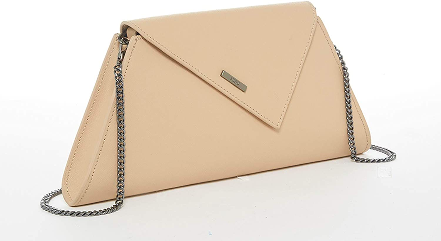 NEW FAUX LEATHER  EVENING DAY CLUTCH BAG WEDDING PARTY NUDE FUCHSIA PINK TAN