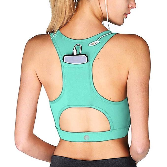 00cee294248 YIANNA Mujer Sujetador Deportivo Sin Costura Yoga Racerback Top con Relleno  Extraíble  Amazon.es  Ropa y accesorios