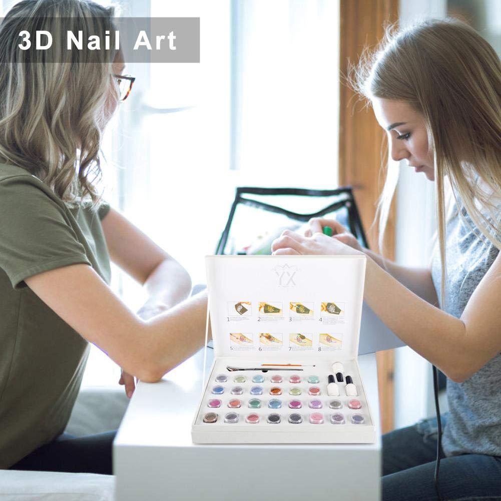 Tattoo Powder Diamond Colorful 3D Glitter Kit,Shimmer Tattoo and Nail Art 3D Decoration Waterproof Body Tattoo Art Paint with Stencil Brush by ZJchao (Image #3)