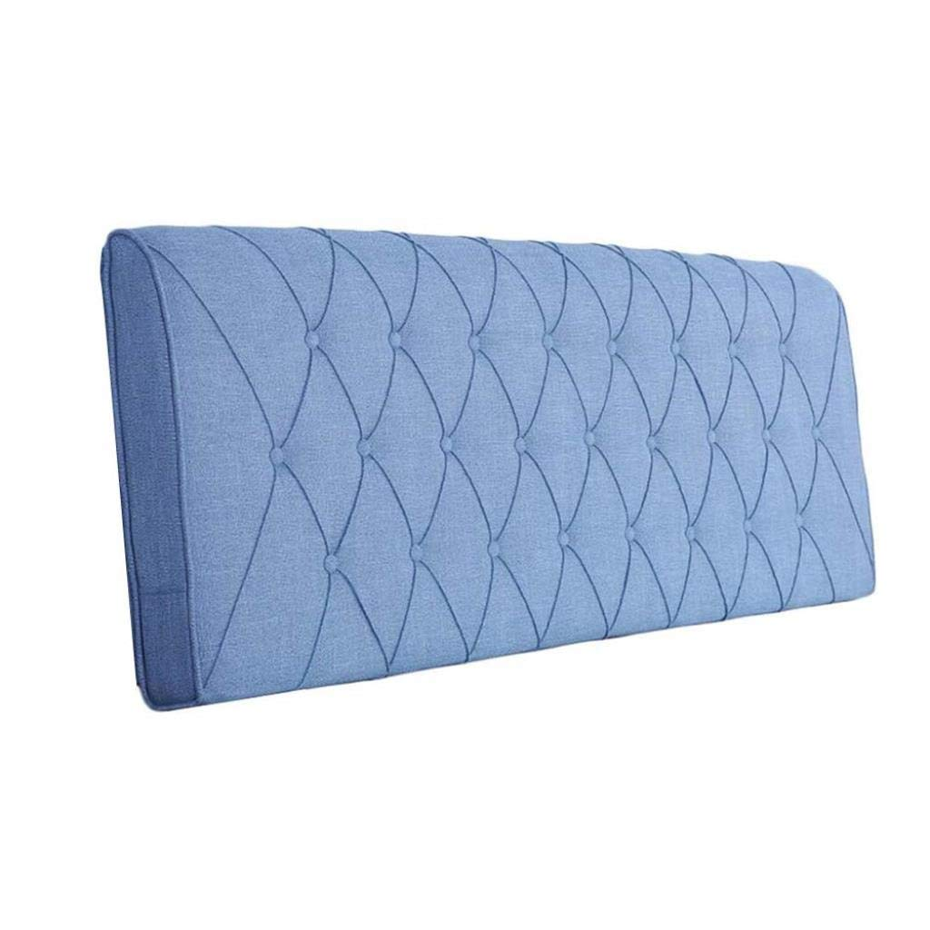 YJLGRYF Headboard Cushion Solid Wood Bed Cushion Without Bed Cover Tatami Soft Bag Bed Large backrest Removable and Washable Lumbar pad for Office Bed sof (Color : Blue No Headboard, Size : 150cm) by YJLGRYF