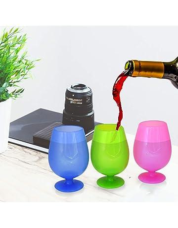 Copas de silicona Wolecok. Copas de vino de silicona plegables, irrompibles, de 355