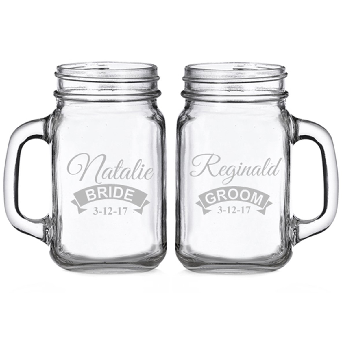 Bride and Groom Rustic Banner Personalized Glass Mason Mugs (set of 2)
