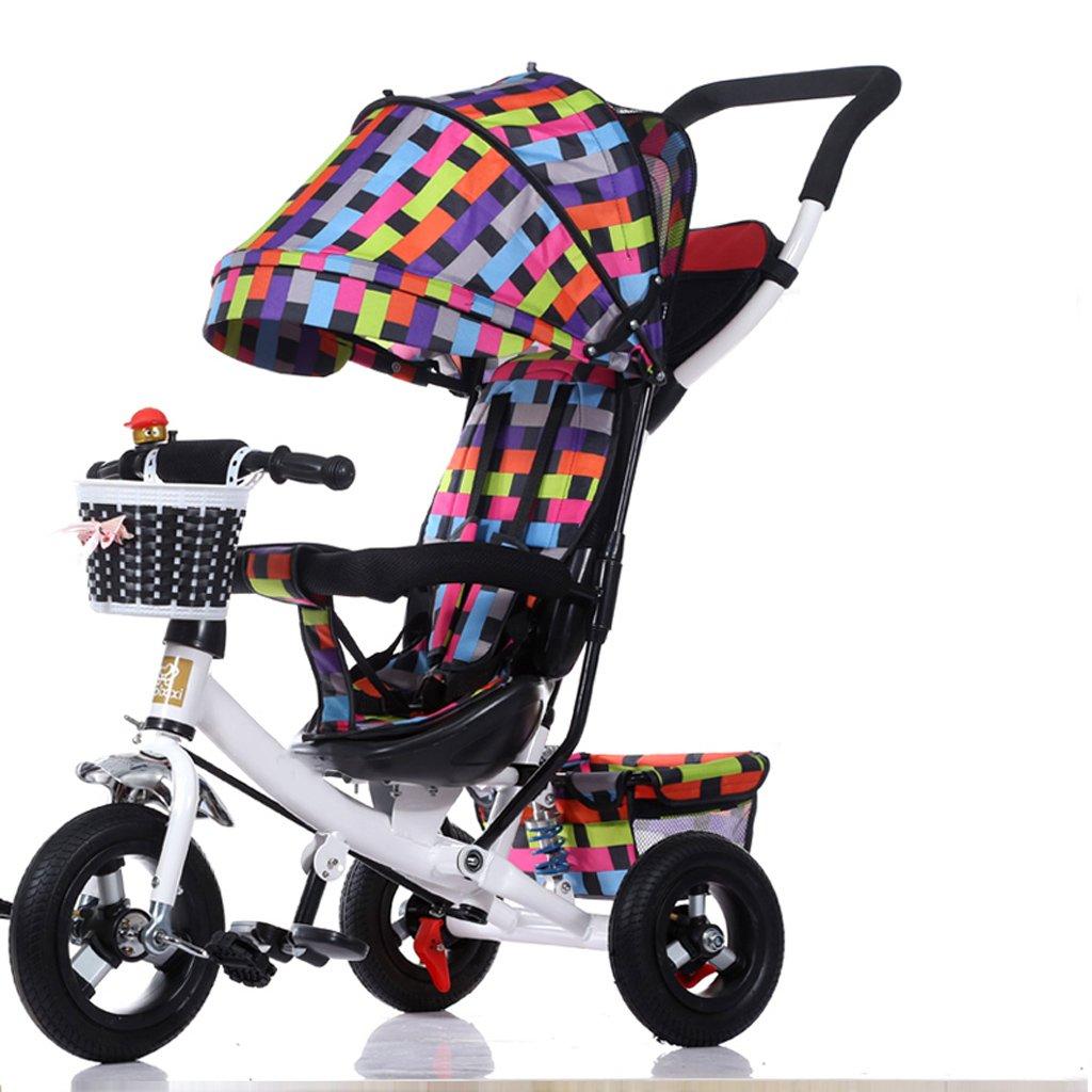 ベビーカー セーフティダブルブレーキ折りたたみ子供の三輪車、1-3-5歳の取り外し可能なプッシュハンドル子供のペダルトリク自転車自転車、サンシャインベビーベビーカーとファッション 安全性 (Color : Multicolor)  Multicolor B07SN56VX2