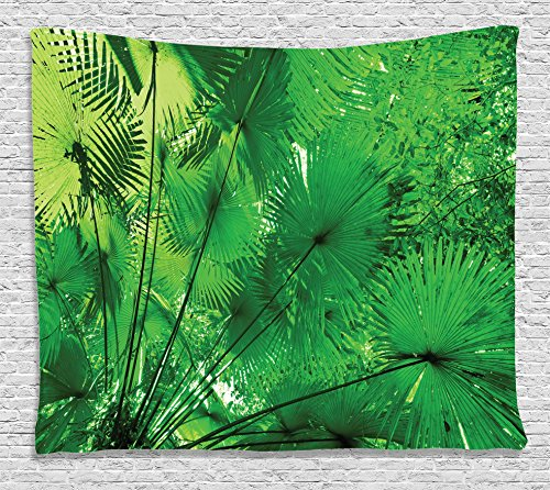 Ambesonne Rainforest Decorations Tapestry Wall Hanging for Classroom, Plants in Tropical Environment Exotic Jungle Asian Natural Beauty Pattern, Bedroom Living Room Dorm Decor, 80 W X 60 L, Green - Exotic Natural