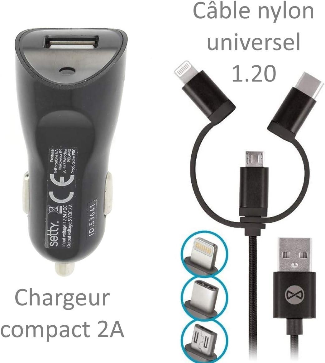 Forever Chargeur Auto 2A Câble Nylon Univ pour Amazon