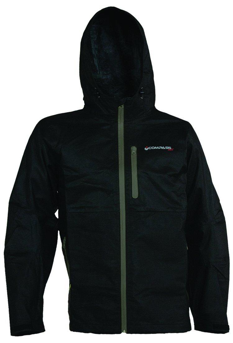 コンパス360 Protek不織布t50防水雨ジャケット B01KW4DT38 Large|ブラック ブラック Large