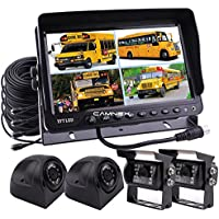 Camnex Car Rear View Camera System 9 TFT LCD Monitor With Quad Split Screen Rear View Camera Monitor Kit for Truck Van Caravan Trailers Camper Bus RV Combine Harvester