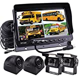 "Camnex Car Rear View Camera System 9"" TFT LCD Monitor With Quad Split Screen Rear View Camera Monitor Kit for Truck Van Caravan Trailers Camper Bus RV Combine Harvester"