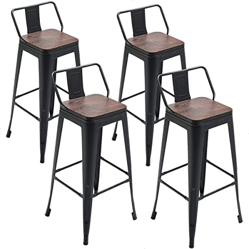 Tongli Metal Swivel Barstools Dining Chairs Set Industrial Counter Height Chair Pack of 4 Patio Chair Black Wooden Seat 30″