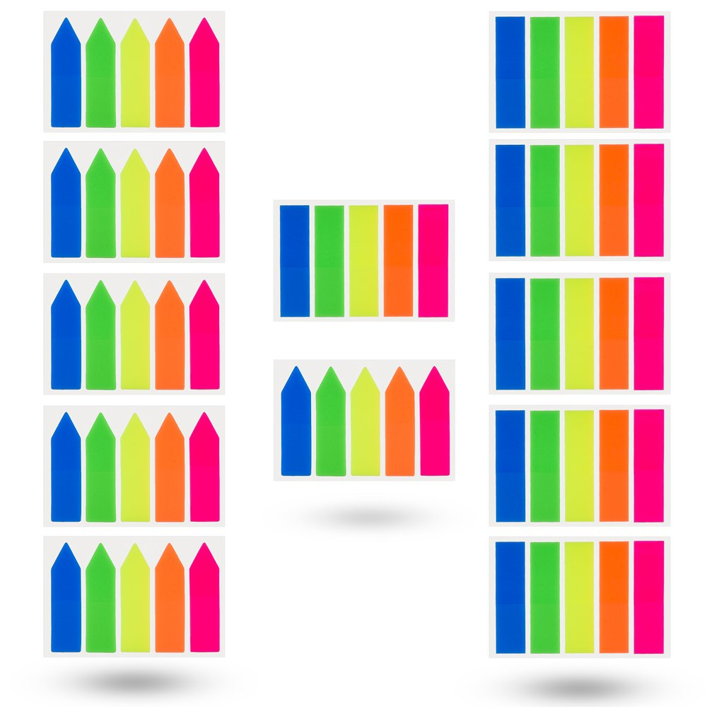 600 Pieces Antner 6 Sets Neon Page Markers Colored Index Tabs Flags Sticky Notes for Page Marker