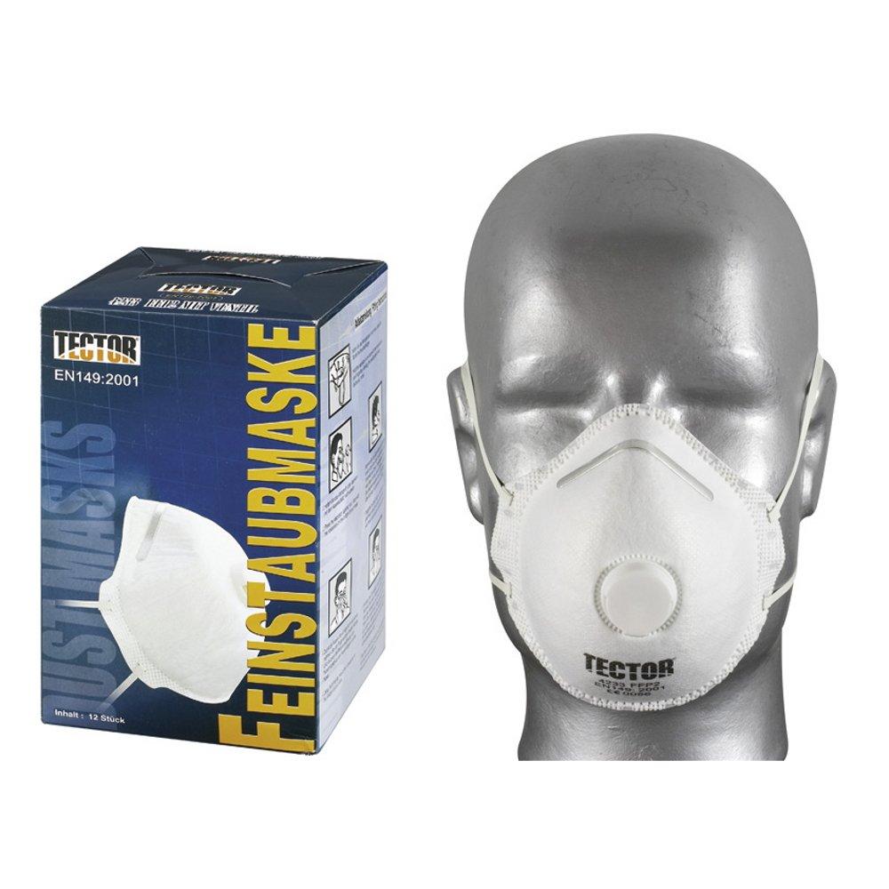 Atemschutzmaske Feinstaubmaske TECTOR 4233 FFP 2 mit Ventil EN 149, P2, 12-480 Stü ck, weiß , universal Feldtmann