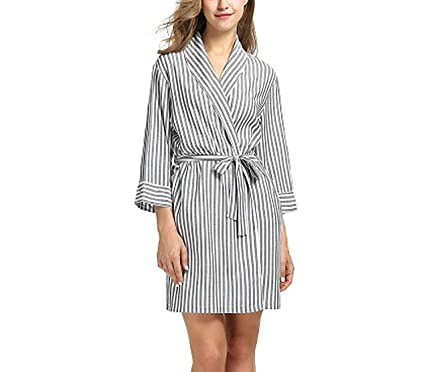 4b7402e956 Striped Sleepwear Robe Women s Dressing Gown Casual 3 4 Sleeve Bathrobe  Female Home Clothes