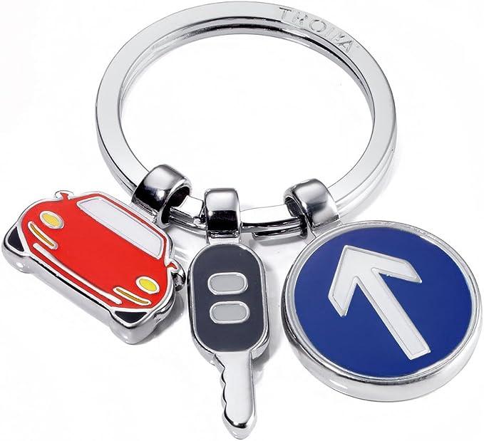Troika Schlüsselanhänger On The Road Kr11 18 Ch 3 Charms Straßenverkehr Auto Verkehrszeichen Autoschlüssel Fahrschule Fahranfänger Metall Emaille Das Original Von Troika Bekleidung