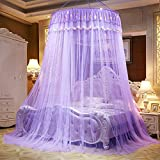 Per Gorgeous Style Princess Dome Netting Curtains Hanging Canopy Play Tent Mosquito Net For Bedroom Height 280cm/110.23in,Dome Diameter 100 cm/39.37in-Purple