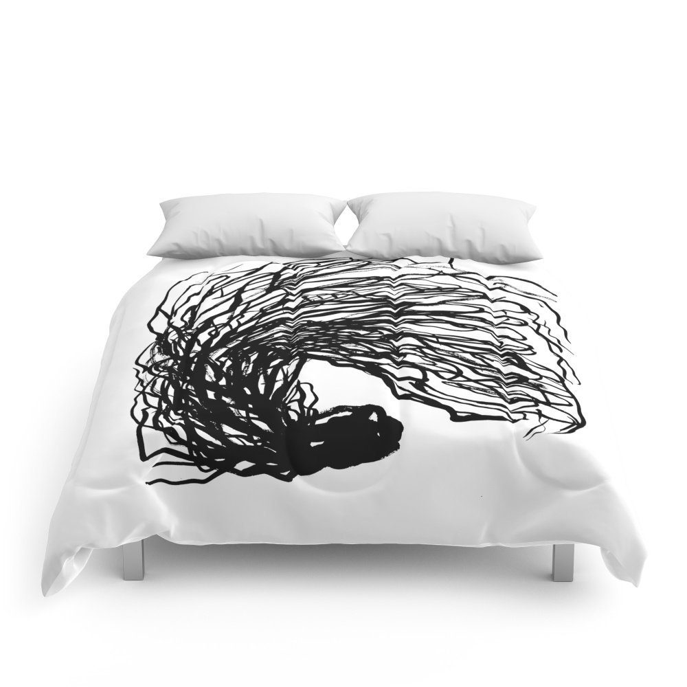 Society6 Black And White Abstract Brushstroke Modern Minimal Monochromatic Art Print Home Decor College Dorm Comforters King: 104'' x 88''
