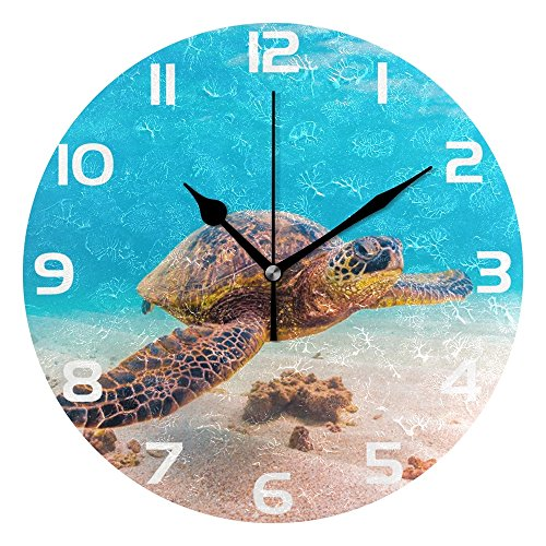 WellLee Hawaiian Green Sea Turtle Under Ocean Clock Acrylic Painted Silent Non-Ticking Round Wall Clock Home Art Bedroom Living Dorm Room - Sea Clock Turtle