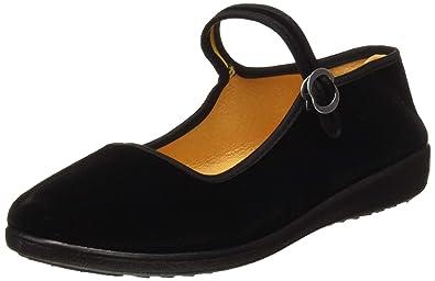 c5ceee4e90d31 APIKA Women's Velvet Mary Jane Shoes Black Cottton Old Beijing Cloth Flats  Yoga Exercise Dance Shoes