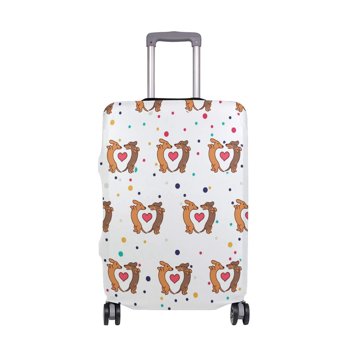 Cute Dachshunds Pets Love Travel Luggage Cover - Suitcase Protector HLive Spandex Dust Proof Covers with Zipper, Fits 18-32 inch