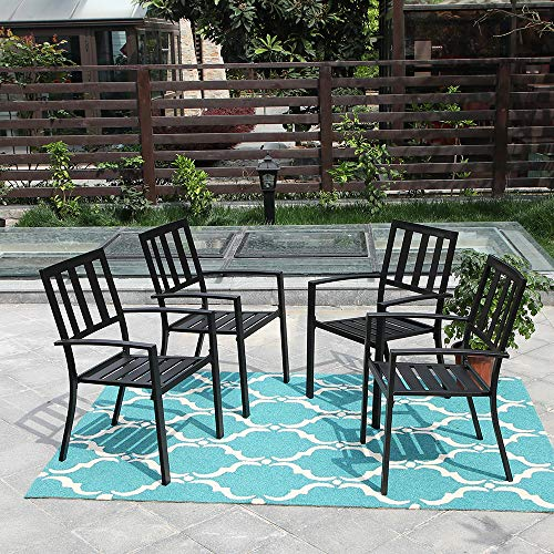 Slat Back Wrought Iron - PHI VILLA 4 Piece Black Metal Outdoor Furniture Patio Steel Frame Slat Seat Dining Arm Chairs with Angle Back
