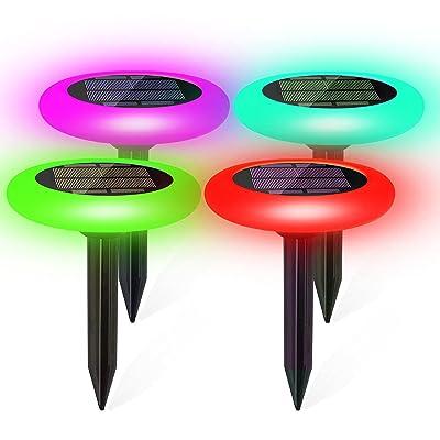 Tomshine Solar Power Energy Ground Lawn Lamp 4 Pcs Sensitive Light Sensor-White