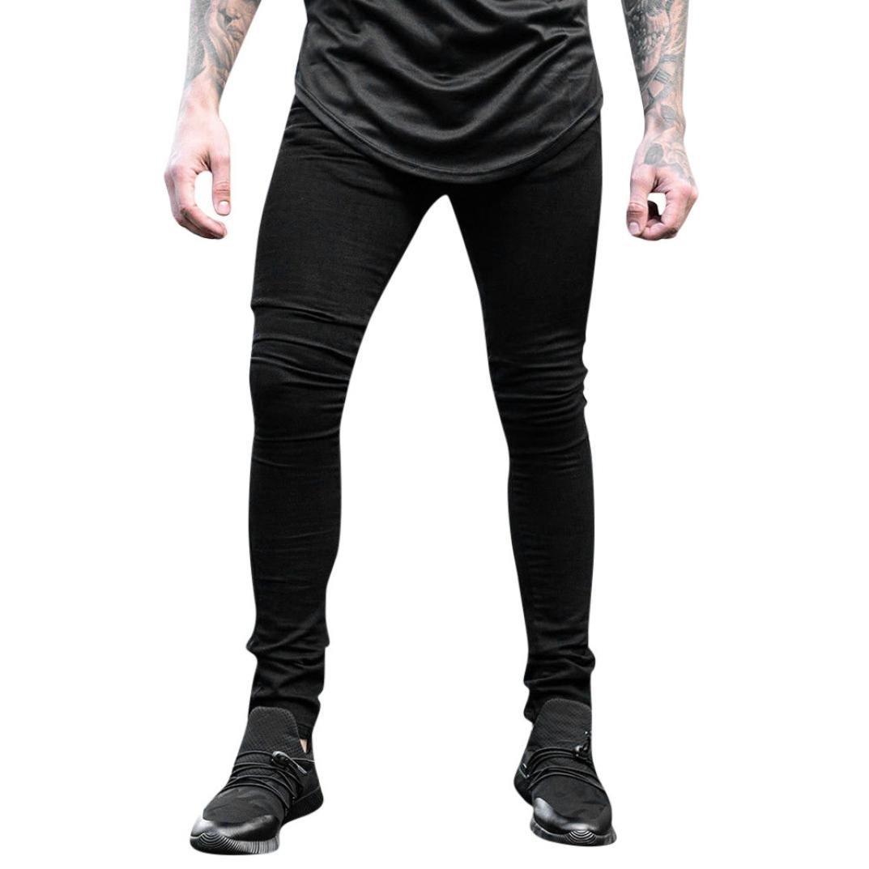 PASATO New Hot! Men's Casual Autumn Denim Cotton Zipper Fly String Work Trousers Jeans Pants(Black, XXL)