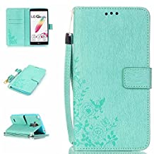 Back Case LG LS770 Wallet Cover,LG G Stylo Phone Case,LG Motion 4G Cover,PU Leather Skin Cover Flip Folio Wallet Case for LG G Stylo Protector-Green