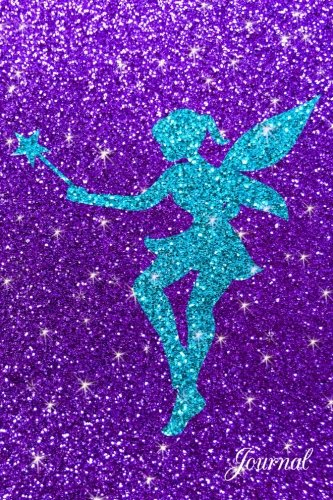 Journal: Faux purple glitter turquoise glitter fairy notebook