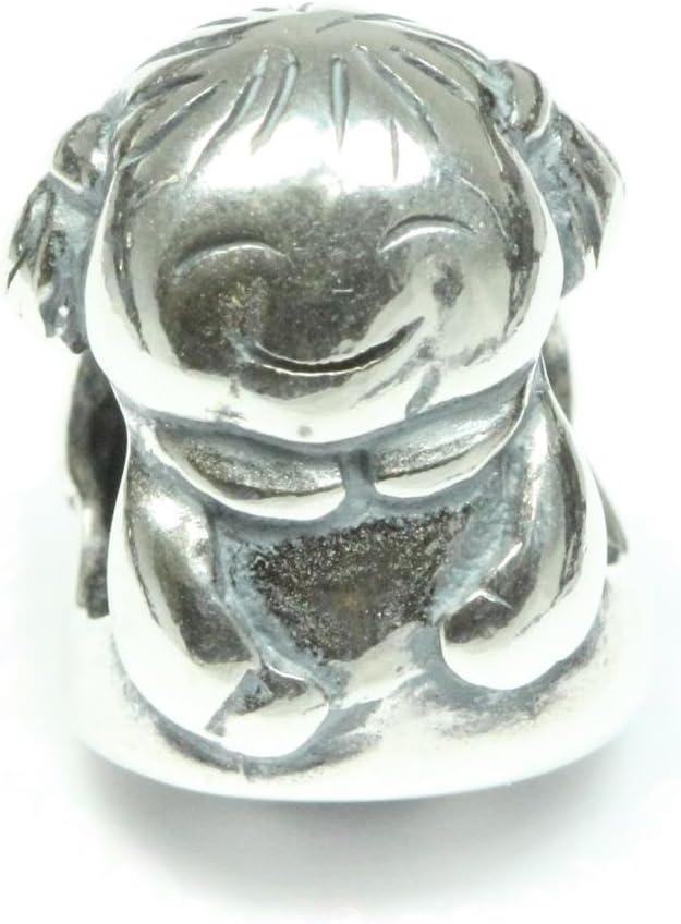 Sterling Silver Charm Sweet Girl Charm Daughter Charm Bead fits All Charm Bracelets Women Girls Birthday Gifts EC166