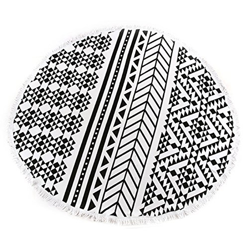 Black And White Tassel Rug: MAYWHEN Round Beach Towel Roundie Thick Throw Terry Cotton