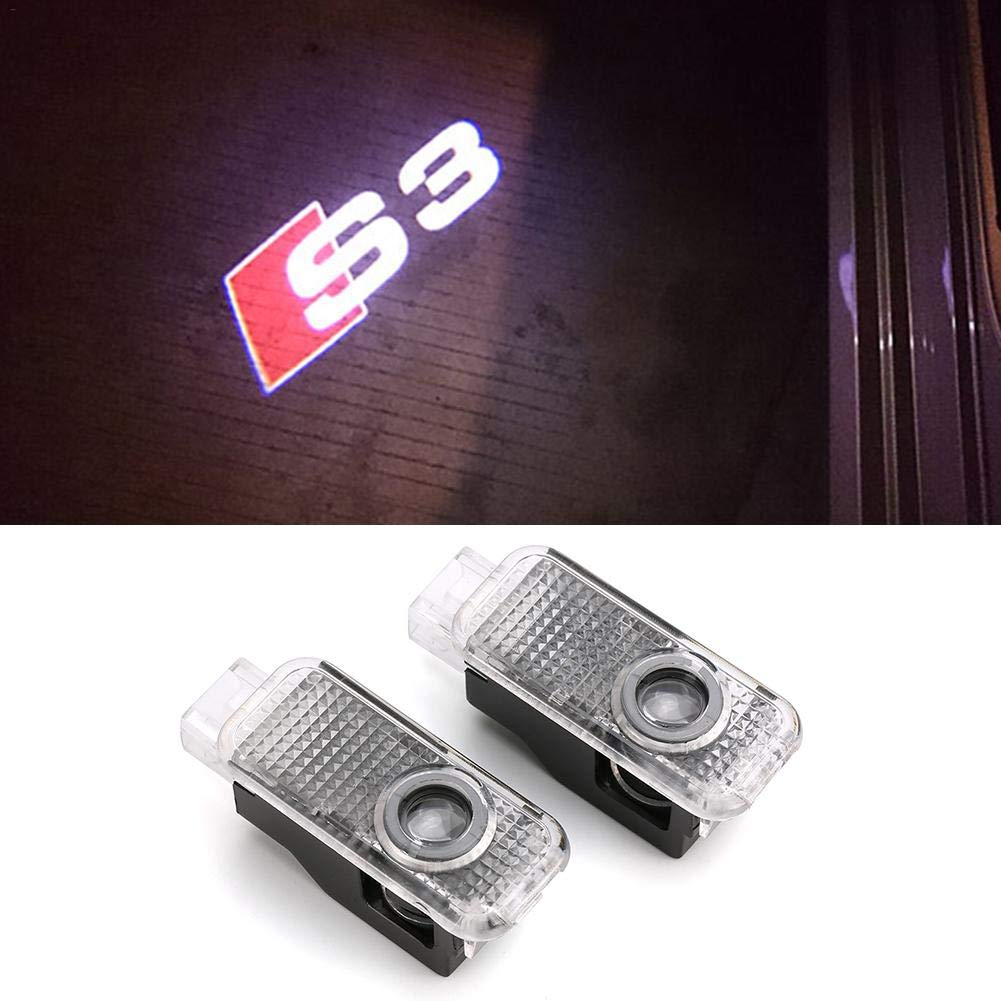 Funihut Door LED Logo Projector Welcome Gate Light Shadow Logo 2pcs No/Drilling/Car/LED/Ghost LED of Applicable to Audi A1/A3/Q5/A4/A7/A5/A6/Q3/Q7/A8/R8/Sline/TT
