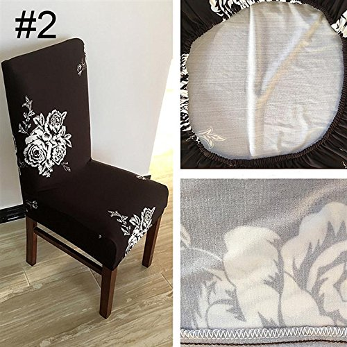Removable Spandex Stretch Folding Flat Chair Cover Slipcover Wedding Party Banquet Chair Dining Home Room Ornament Type B (Stretch Medallion)