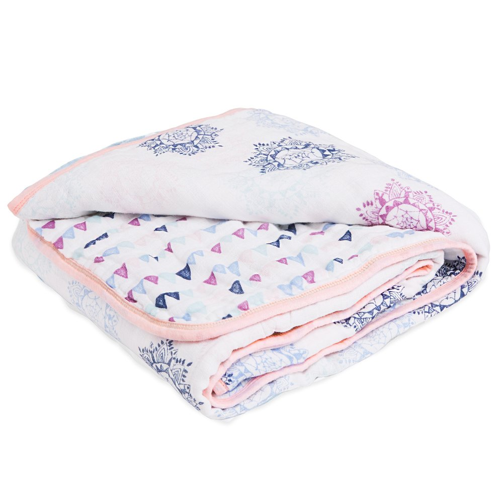 aden by aden + anais Muslin Blanket, 100% Cotton Muslin, 4 Layer Lightweight and Breathable, Large 44 X 44 inch, Pretty Pink -Medallion
