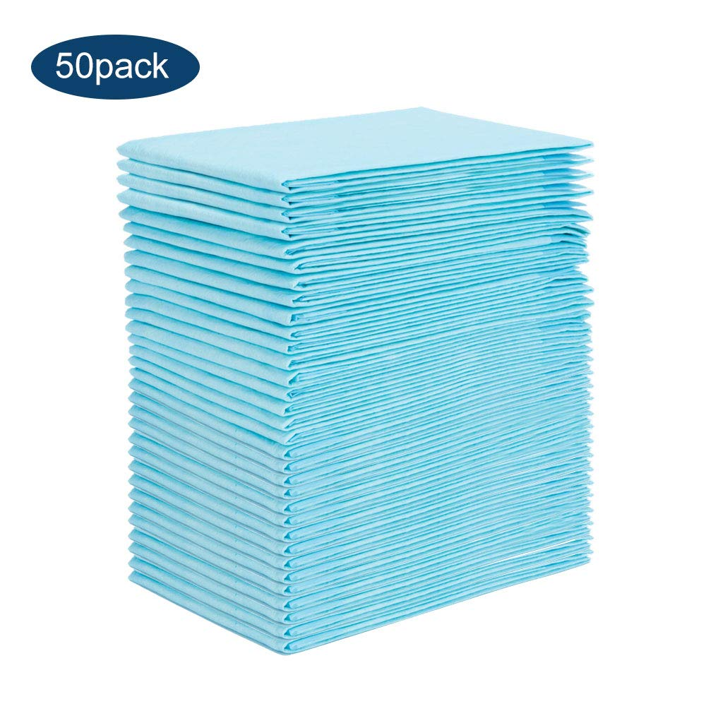 Disposable Underpads 50 Pack Portable Baby Pee Pads Absorbency Mattress Pad Protector Pet Training and Puppy Pads Changing Pads for Baby Waterproof Incontinence Mat for Babies, Toddlers, puerpera, Elder OBloved