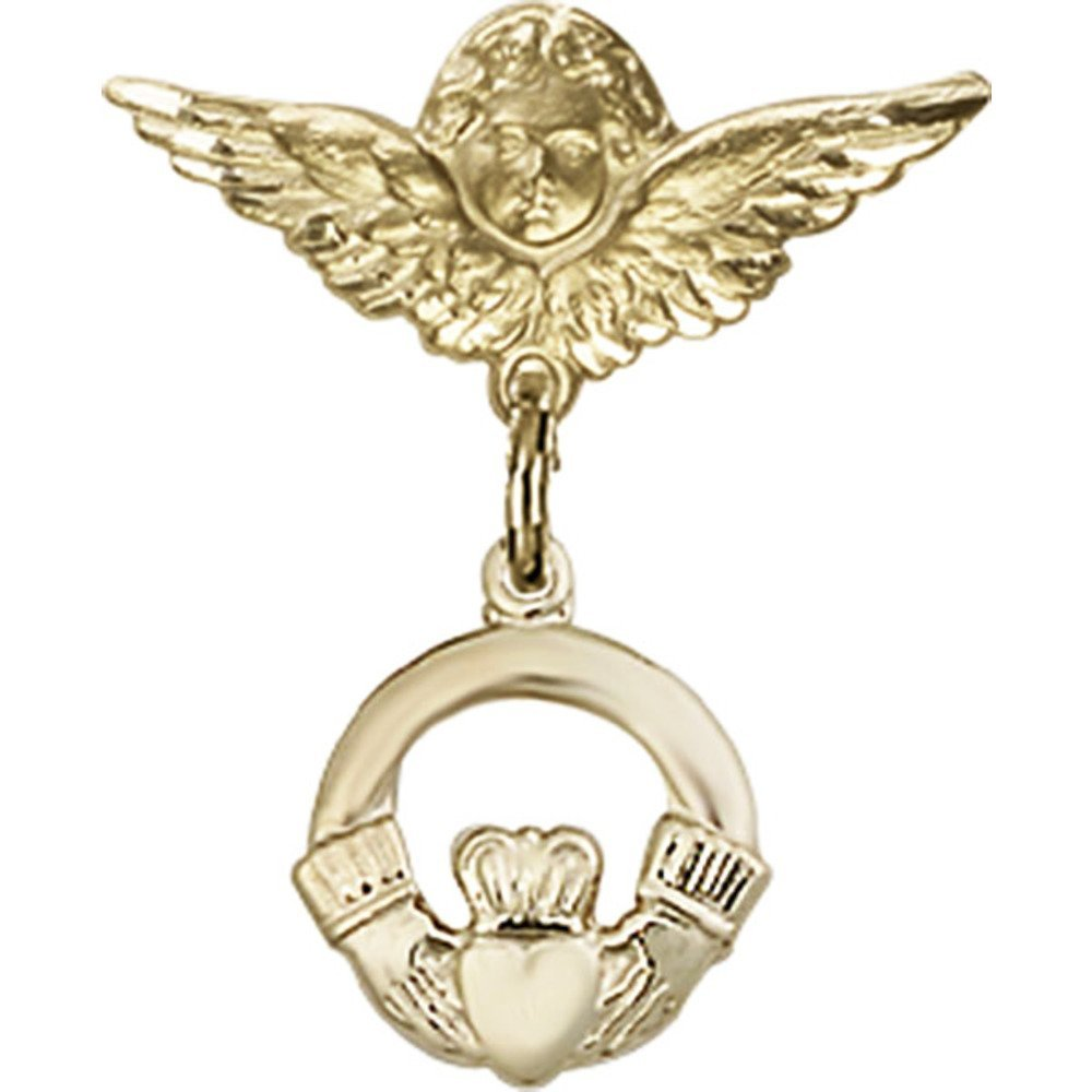 14kt Yellow Gold Baby Badge with Claddagh Charm and Angel w/Wings Badge Pin 7/8 X 3/4 inches by Unknown