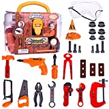 kids toolbox set - Fun Little Toys Toddler Tool Box Construction Toy Set Kids Pretend Role Play Educational Learning Safe Mini Tools Kit With Accessories in Sturdy Carry Case | 29 PCs