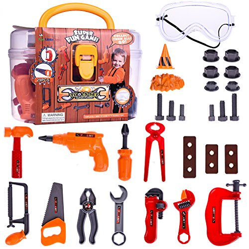 Toddler Tool Box Construction Toy Set Kids Pretend Role Play Educational Learning Safe Mini Tools Kit with Accessories in Sturdy Carry Case | 29 pcs