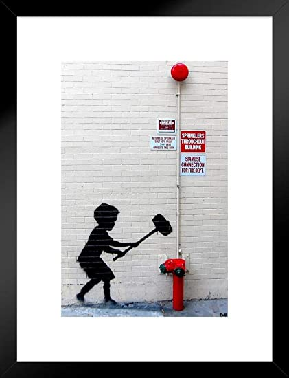 Amazon com: Pyramid America Banksy Hammer Boy Graffiti